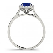 Diamond Halo Blue Sapphire Engagement Ring Platinum (1.29ct)