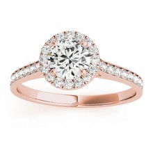 Diamond Halo Engagement Ring 18k Rose Gold (0.29ct)