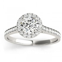 Diamond Halo Engagement Ring 18k White Gold (0.29ct)