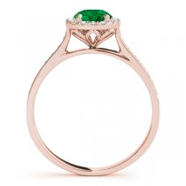 Diamond Halo Emerald Engagement Ring 14k Rose Gold (1.29ct)