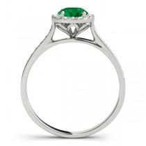 Diamond Halo Emerald Engagement Ring 14k White Gold (1.29ct)