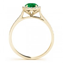 Diamond Halo Emerald Engagement Ring 14k Yellow Gold (1.29ct)