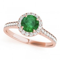 Diamond Halo Emerald Engagement Ring 18k Rose Gold (1.29ct)