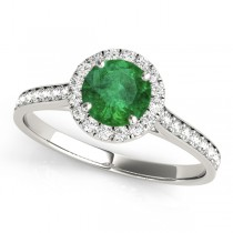 Diamond Halo Emerald Engagement Ring 18k White Gold (1.29ct)