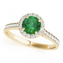Diamond Halo Emerald Engagement Ring 18k Yellow Gold (1.29ct)