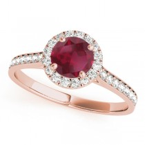Diamond Halo Ruby Engagement Ring 14k Rose Gold (1.29ct)