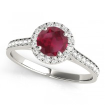Diamond Halo Ruby Engagement Ring 18k White Gold (1.29ct)