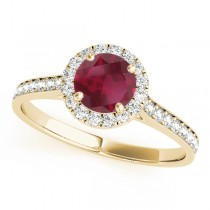 Diamond Halo Ruby Engagement Ring 18k Yellow Gold (1.29ct)