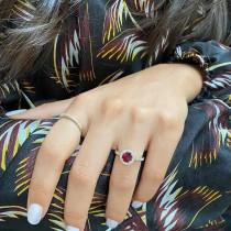 Diamond Halo Ruby Engagement Ring 18k Yellow Gold (1.29ct)