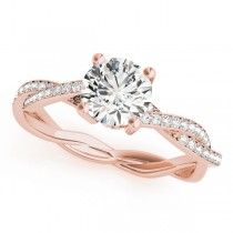 Diamond Twist Sidestone Accented Engagement Ring 14k Rose Gold (1.11ct)