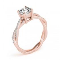 Diamond Twist Sidestone Accented Engagement Ring 14k Rose Gold (1.11ct)