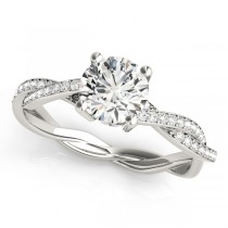 Diamond Twist Sidestone Accented Engagement Ring 18k White Gold (1.11ct)