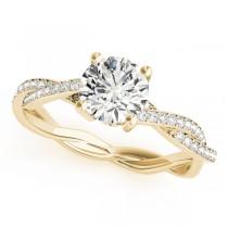 Diamond Twist Sidestone Accented Engagement Ring 18k Yellow Gold (1.11ct)