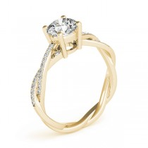 Diamond Twist Sidestone Accented Engagement Ring 18k Yellow Gold (1.11ct)