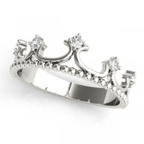 Royal Crown Diamond Ring in 14k White Gold (0.17ct)