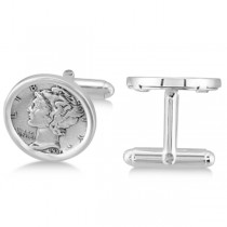 Men's  Bezel Set Mercury Dime Coin Cufflinks in Sterling Silver