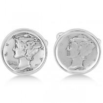 Men's  Bezel Set Mercury Dime Coin Cufflinks in Sterling Silver