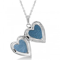 Petite Heart Photo Locket w/ Diamond Accent Women 14k White Gold .01ct