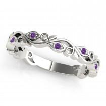 Amethyst Leaf Fashion Wedding Band 14k White Gold (0.05ct)