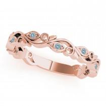 Aquamarine Leaf Fashion Wedding Band 14k Rose Gold (0.05ct)