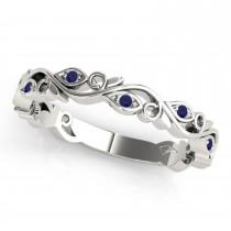 Blue Sapphire Leaf Fashion Wedding Band 14k White Gold (0.05ct)