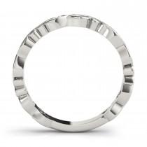 Blue Topaz Leaf Fashion Ring Wedding Band 14k White Gold (0.05ct)