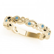 Blue Topaz Leaf Fashion Wedding Band 14k Yellow Gold (0.05ct)