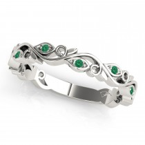 Emerald Leaf Fashion Wedding Band 14k White Gold (0.05ct)