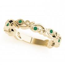 Emerald Leaf Fashion Wedding Band 14k Yellow Gold (0.05ct)