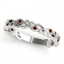 Garnet Leaf Fashion Wedding Band 14k White Gold (0.05ct)