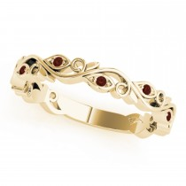 Garnet Leaf Fashion Wedding Band 14k Yellow Gold (0.05ct)