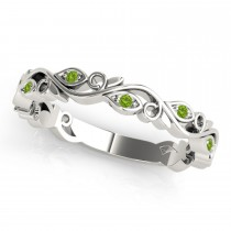 Peridot Leaf Fashion Ring Wedding Band 14k White Gold (0.05ct)