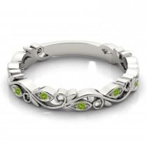 Peridot Leaf Fashion Ring Wedding Band 14k White Gold (0.05ct)