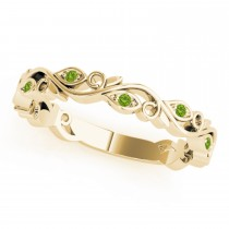 Peridot Leaf Fashion Wedding Band 14k Yellow Gold (0.05ct)