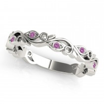 Pink Sapphire Leaf Fashion Wedding Band 14k White Gold (0.05ct)