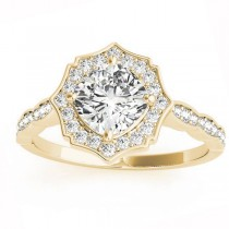Diamond Accented Halo Engagement Ring Setting 14K Yellow Gold (0.26ct)