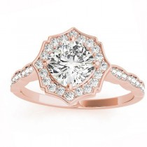 Diamond Accented Halo Engagement Ring Setting 18K Rose Gold (0.26ct)