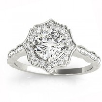 Diamond Accented Halo Engagement Ring Setting 18K White Gold (0.26ct)
