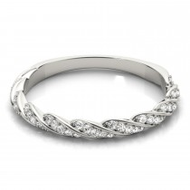Diamond Twist Fashion Ring Wedding Band 14k White Gold (0.23ct)