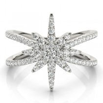 Diamond North Star Fashion Ring 14k White Gold (0.47ct)