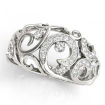 Diamond Spiral Pattern Fashion Ring 14k White Gold (0.25ct)