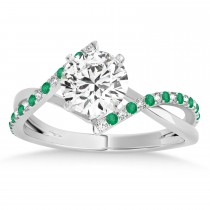 Diamond & Emerald Bypass Semi-Mount Ring in 14k White Gold (0.14ct)