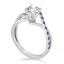 Diamond & Tanzanite Bypass Semi-Mount Ring in 14k White Gold (0.14ct)