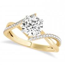 Diamond Bypass Semi-Mount Ring/Wedding Band in 18k Yellow Gold (0.14ct)