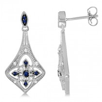 Blue Sapphire and Diamond Chandelier Earrings Sterling Silver 1.27ctw
