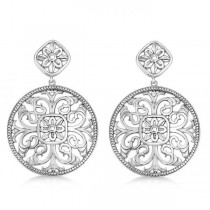 Filigree Design Drop Earrings in Plain Metal 14k White Gold