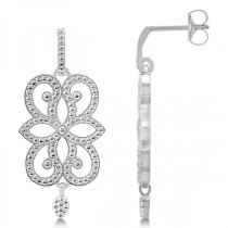 Granulated Scroll Design Drop Earrings in Plain Metal 14k White Gold