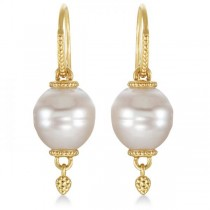 South Sea Cultured Pearl Drop Earrings Granulated Gold 14K Yellow (11mm)