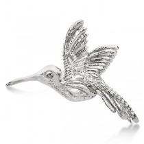 Hummingbird Brooch in Plain Metal 14k White Gold