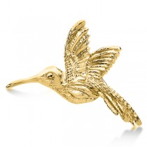 Hummingbird Brooch in Plain Metal 14k Yellow Gold